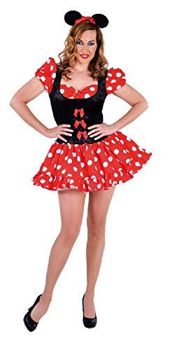 narrenkiste M212115-M - Disfraz de Minnie para mujer, talla M, color rojo y negro