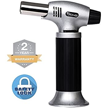 Culinary Torch Kitchen Butane Lighter - Chef Cooking Torch Refillable Adjustable Flame Lighter with Safety Lock for DIY, Creme, Brulee, BBQ and Baking, Butane Gas Not Included
