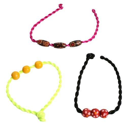 Anniversaire Kermesse - Pack de 12 Bracelets Tressés avec Perles de Bois - Anniversaire Fille