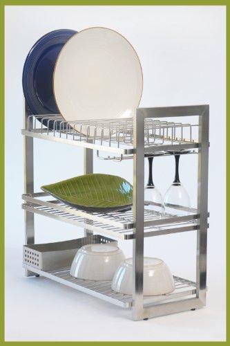Zojila Patagonia 3 Tier Dish Rack, Brushed/Polished Stainless Steel