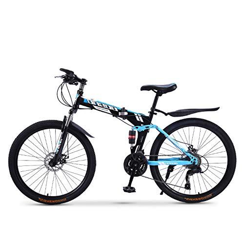 FZ-Kostum 3/6/10 Spoke Folding Mountain Bike for Adult with High Carbon Steel Frame,30 Speed Dual Disc Brake Full Suspension Anti-Slip MTB, Load 150KG 26-Inch,C,Spoke