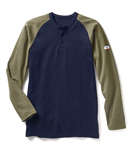 Rasco FR Khaki/Navy Two Tone Henley T-Shirt