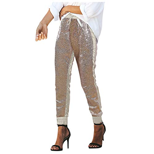 Lederhose Leder Hosen Pailletten Tanzhose Damen Party Jazz Sporthose Trainingshose Kontrastfarbe Patchwork Freizeithose Jogginghose Pumps Partyhose Sequins Trousers