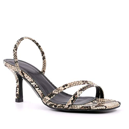 Angkorly - Modne buty damskie sandały czółenka czółenka - fantazyjne/szykowne - BCBG - modne - wiele pasków - efekt węża Pythona - Elastyczna szpilka na wysokim obcasie 7,5 cm, - BEŻOWY - 35 EU