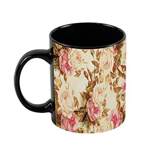 Taza de café de cerámica negra con diseño floral de rosas rosas, blancas y marrones, 325 ml, única taza de café y té de cerámica, regalo de Navidad para ella, regalo de amigo