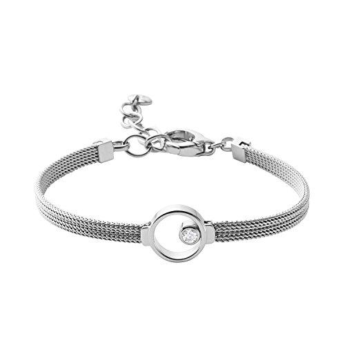 Skagen Damen-Armband Edelstahl Glas transparent 20 cm - SKJ0834040