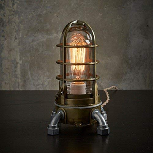 The'Vapor Touch 2.0' in Antique Brass Desk Lamp - Industrial Steampunk Edison Table Lamp w/ 3 Touch Dimmer Switch, Steampunk Decor, Edison Bulb Included.