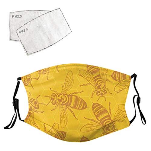 Jasinto Baumwolle Mundschutz mit Filters für Damen Herren, Anti-Staub Bandanas Halstuch Schlauchschal Schlauchtuch Multifunktionstuch für Radfahren, Waschbar Nasen und Lippen Schutz, Biene Drucken
