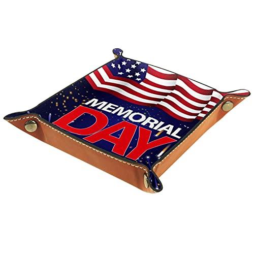 XiangHeFu Bandeja de Cuero Fireworks de Bandera Americana patriótica Almacenamiento Bandeja Organizador Bandeja de Almacenamiento Multifunción de Piel para Relojes,Llaves