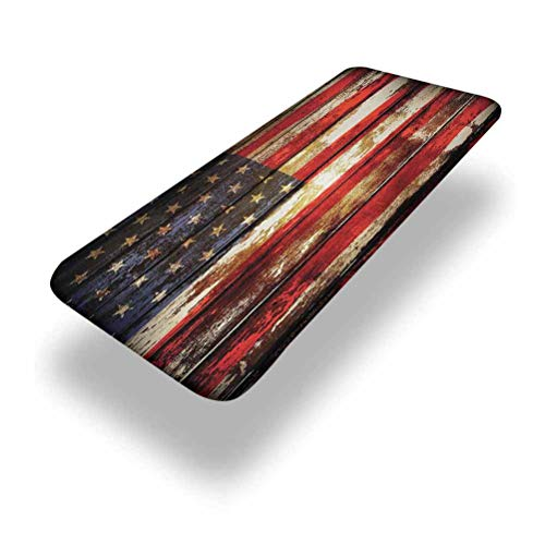 5ft American Flag Elastic Edge Fitted Table Cover,Us Symbolism over Old Rusty Tones Weathered Vintage Social Plank Artwork,Fits 30 x 60 Inch Picnic Folding Table,for Outdoor Travel/Holiday/Party