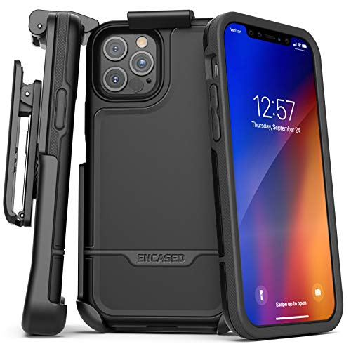 Encased Rebel Armor Belt Clip Holster Case Compatible with iPhone 12 Pro Max Shockproof Full Body Cover with Holder (Black)