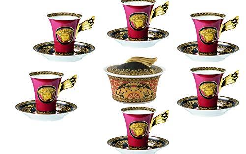 VERSACE . Medusa Red Set 7 TLG Caffe: 6 Tassen High Coffee Untertasse 0,20 lt + Zuckerdose