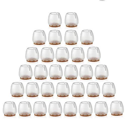 NUOLUX 32pcs Silicone chaise casquettes pieds tampons mobilier Table couvre plancher protège-jambes pour 25-29MM rond de jambes (Transparent + brun)