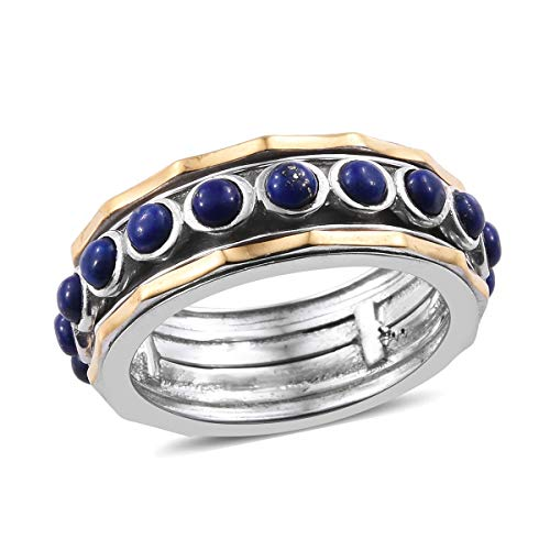 Round Lapis Lazuli Spinner Gift Ring for Women Size 5