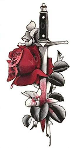 EROSPA® Tattoo-Bogen temporär/Sticker - Dolch Messer Rose - Wasserfest - 11,4 x 21 cm
