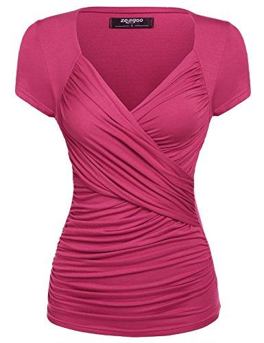 Zeagoo Damen Sommer Sexy T-Shirt V-Ausschnitt Kurzarm Tunika Shirt mit Falten Blusen Oberteile, 1_rose Rot, S
