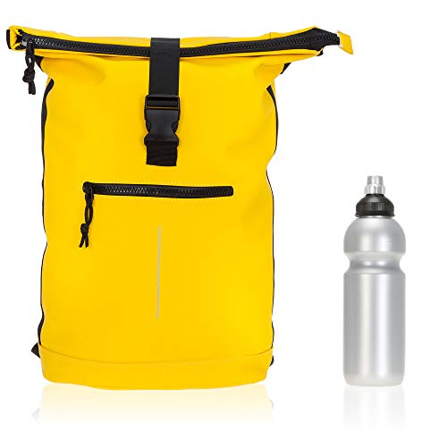 Rucksack Plane Time Bag Kurierrucksack Roll-up Fahrradrucksack Sport Fitness + Flasche (Gelb 07)