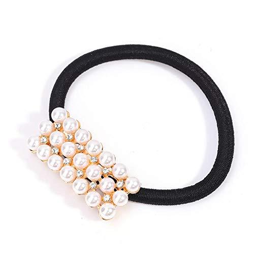 Bague de cheveux perle, pince à cheveux élastique pour dames perle, anneau de cheveux, bijoux de cheveux à la mode, fausse perle porte-queue de cheval élastique, accessoires pour cheveux(2#)