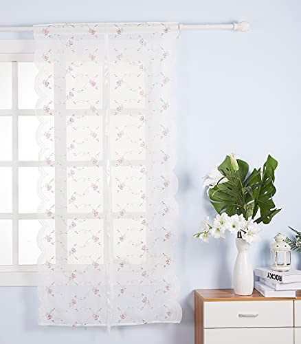 Molaxhome White Sheer Balloon Curtains for Windows 25x66inch, Embroidery Flower Polyester Curtain Panels Tie Up Roman Shades for Small Window Treatment Valance (25x66 inch, Pink)
