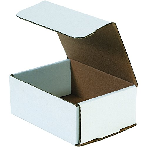 Aviditi White Corrugated Cardboard Mailing Boxes, 6 1/2 x 4 7/8 x 2 5/8 Inches, Pack of 50, Crush-Proof, for Shipping, Mailing and Storing
