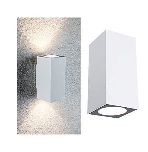 Paulmann 94330-Set di 2 LED Flame IP44, Luce Bianca Calda, Forma Quadrata, incl. 2 x 2,8 Watt Illuminazione Esterna Lampada da Giardino in Alluminio 3000 K