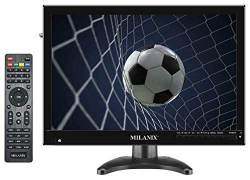 Milanix 14' Portable Digital TV Battery Powered LED HD Television with HDMI, VGA, USB, SD, RCA, FM, AC/DC, Built in Digital Tuner, AV Inputs, and Remote Control