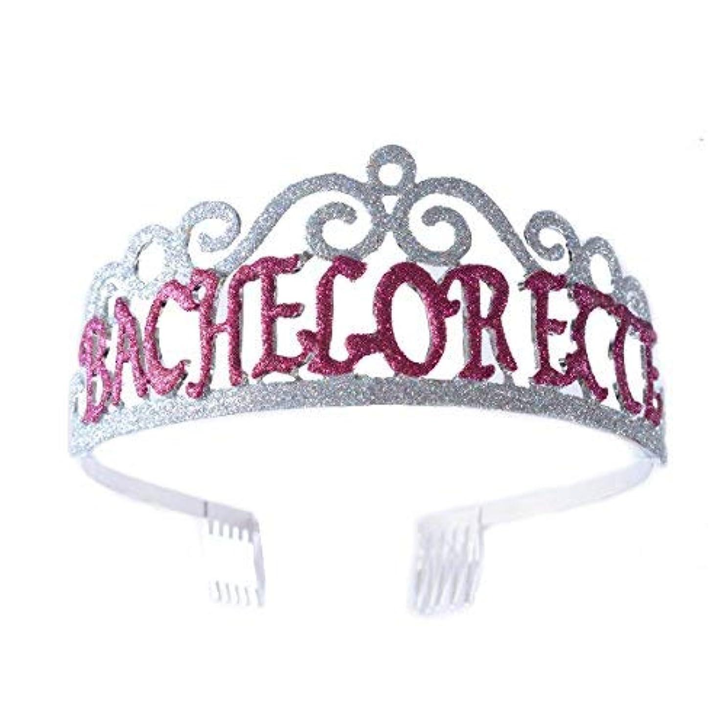 忠実に刃を除くFF Bachelorette Tiara Glittered Metal Combs with Silver AB Sequins [並行輸入品]