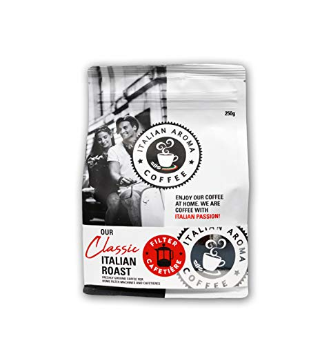 Italian Aroma Coffee - 250G Bag of Roasted Coffee - Ground / Whole Beans / Compostable Capusles