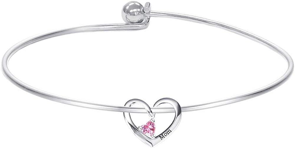 Dreamdecor Personalized Bangle Bracelet for Mom, Custom 1-5 Heart Charms Bracelet Engraved Name Bracelet Personalized Jewelry Gift for Christmas