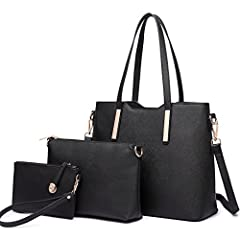 MULTIFUNCTION - 3 PCS Bags (Handbag + Shoulder bag + Purse). You can use them together or individually. The long strap of the main handbag is detachable and adjustable, meeting your requirements for comfort, you can use it as a top handbag or a shoul...