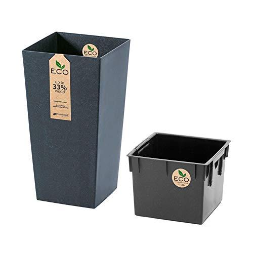 Prosperplast Macetero con depósito adicional Urbi Square Eco 91,5 L en color antracita 40 x 40 x 75 cm, Grande