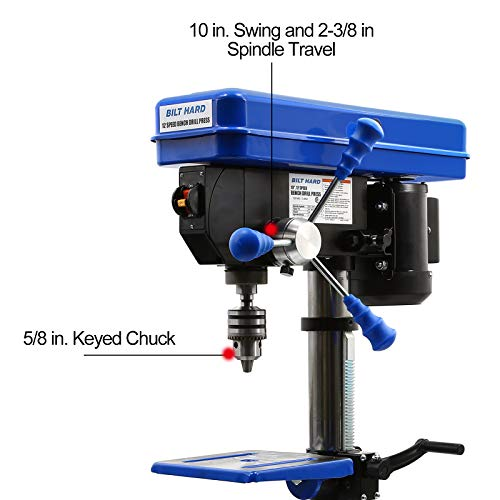 BILT HARD 10 in. Drill Press, 12-Speed Benchtop Drill Press with Vise and Drill Bit Set