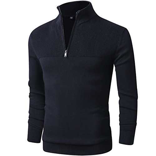 LTIFONE Men Sweater,Slim Zipper,Polo Sweater Casual Long Sleeve and Pullover with Ribbing Edge(Black,M)