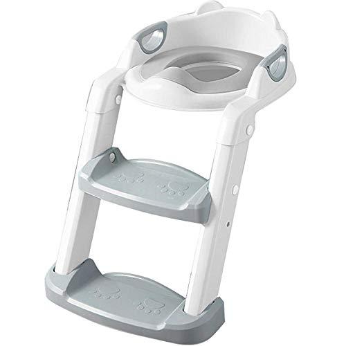 N \ A Gris Toilet Training Seat Patrón de OsoAdaptador Aseo con Escalera,Capacidad de Carga 60kg,Seguro, Antideslizante WC Adaptador para Bebés, Niños Pequeños y Niños