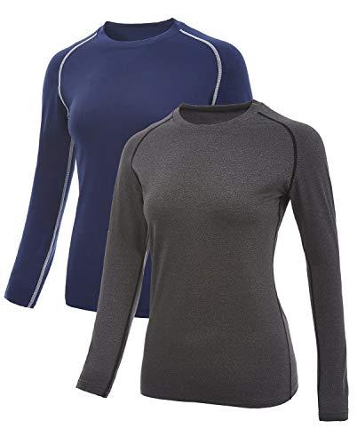 SILKWORLD Camisa de compresión para Mujer, Corte seco, Manga Larga, para Correr, Entrenamiento, Capa Base - Azul - Large