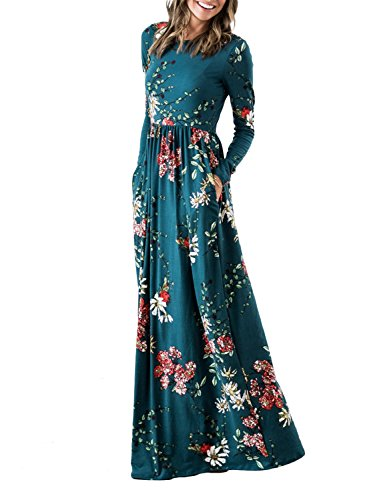 ZESICA Women's Floral Print Long Sleeve Pockets Empire Waist Pleated Long Maxi Dress Teal Medium