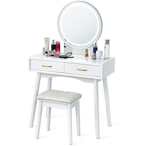 COSTWAY Tocador con Taburete con Espejo Redondo y LED Ajustable de 3 Colores Mesa de Maquillaje con Dos Cajones Mesa de Cosméticos para Dormitorio
