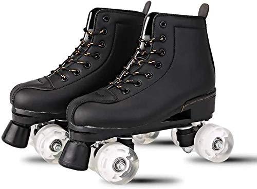 DLY Schlittschuhe, Frauen 4 Rollerskating Stil schnell Schlittschuhe,Black Non-Flash Round Shoe Bag,45