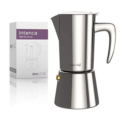 bonVIVO Intenca Stovetop Espresso Maker - Luxurious Italian Coffee Machine Maker, Stainless Steel Espresso Maker Full Bodied Coffee, Espresso Pot For 5-6 Cups, 10 oz Moka Pot SILVER Chrome Finish