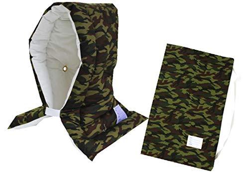 防災ずきん専用カバー付 日本製(小学生から大人まで)Lサイズ 防災クッション(約30×46cm) (迷彩)