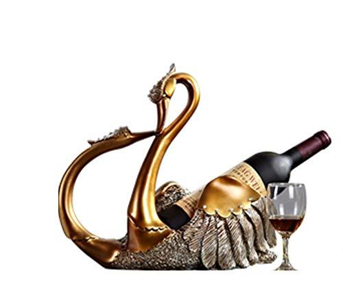TANGIST Decoración única dorada elegante de diamante cisne estante de vino manualidades retro adornos de escritorio sala de estar dormitorio vino gabinete simple decoración personalizada