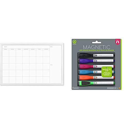 U Brands Magnetic Dry Erase Calendar Board, 20 x 30 Inches, White Wood Frame (2075U00-01) & Brands Low Odor Magnetic Dry Erase Markers with Erasers, Medium Point, Assorted Colors, 6-Count - 520U06-24