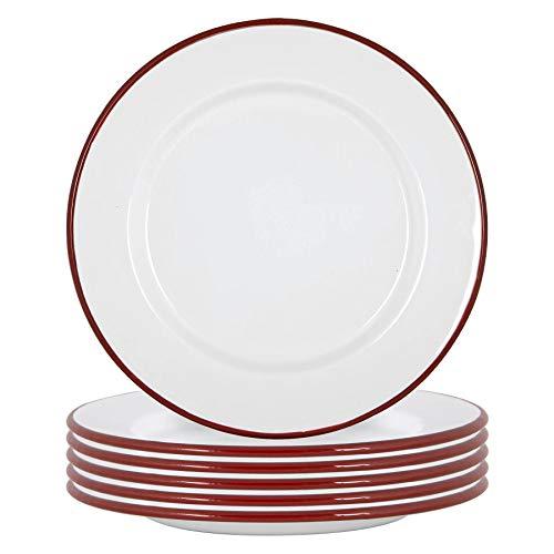Argon Tableware Placas de esmalte blanco cena - Acero al aire libre camping Vajilla Vajilla - 25.5cm - Rojo - Paquete de 6