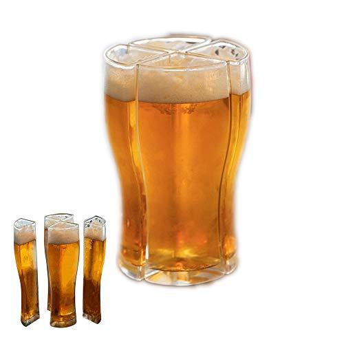 Bicchieri da Birra,Boccale di Birra 4 in 1,Boccale di Birra in Acrilico,Bicchiere di Birra Personalizzato,Boccali di Birra Classici,Boccale di Birra Riutilizzabile,per Pasti a Casa,Feste(Trasparente)