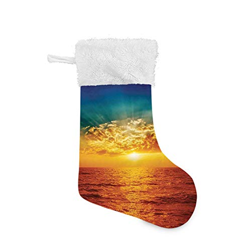 FULIYA Christmas Stocking, Sunset Clouds Exotic Seaside Sun Rays Magical Evening View Decorative Picture Print, Xmas Character 3D Plush with Faux Fur Cuff Christmas Decorations and Party Accessory