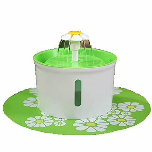Fuente de agua potable para mascotas 1.6L Fuente para mascotas para perros y gatos Dispensador de agua automático para mascotas con filtro de repuesto y estilo floral, súper silencioso e higiénico