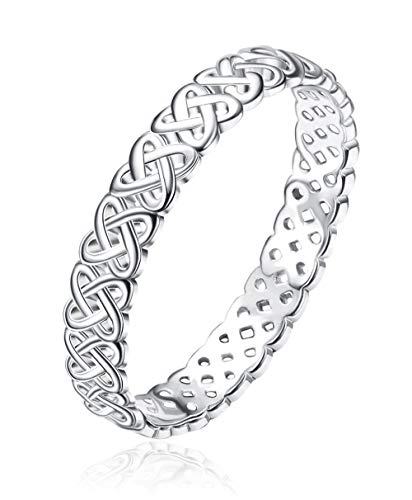 Fiasaso 925 Sterling Silver Rings for Women 4mm Eternity Celtic Knot Wedding Engagement Rings Wedding Bands Size 5-9