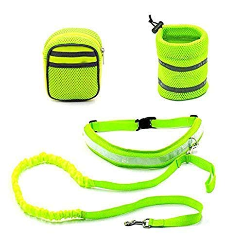 Hands Free Running Jogging Walking Dog Leash - Reflecterende -Met verstelbare riem, lichtgewicht opberg- Zakken En hondenvoer Package LOLDF1 (Color : Green)