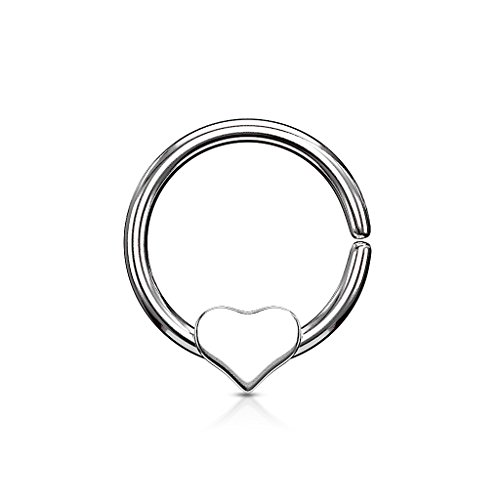 Gekko Body Jewellery Bendable Cut Ring Piercing Hoop met Verwijderbaar Hart Chirurgisch Staal