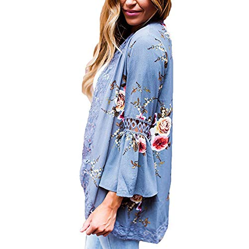 YYH Women's Cardigan Beach Cover Ups Bloemen Print Kimono Sheer Chiffon Losse Vest Kimono Badmode M Lichtblauw